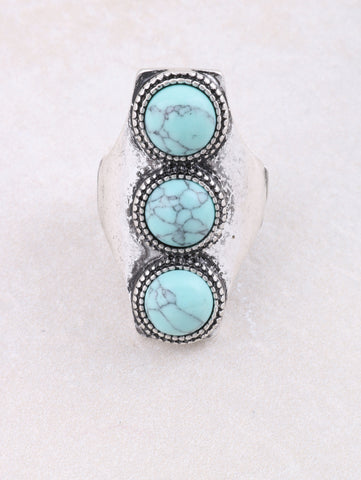 Triple Turquoise Ring Anarchy Street Silver - Details