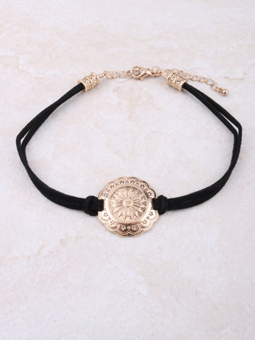 Flower Medallion Choker Anarchy Street Gold