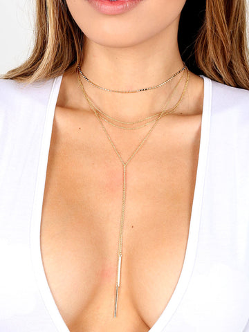 Dotted Bar Layered Choker