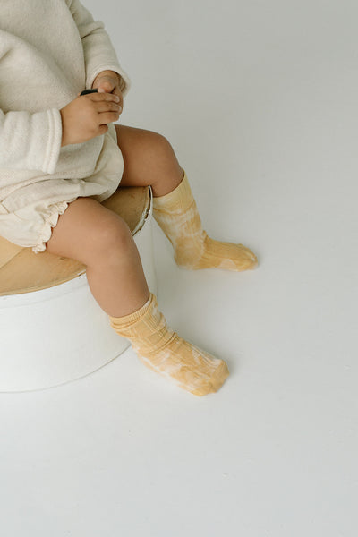 Marigold Tie Dye Socks | Baby - Big Kid - Tortoise & the Hare Clothing | Naturally Dyed Kids Clothes