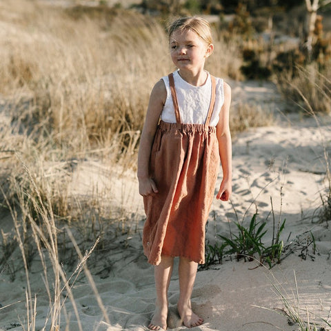 Geranium Suspender Skirt - Tortoise & the Hare Clothing | Naturally Dyed Kids Clothes