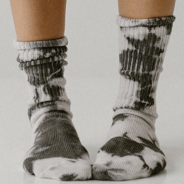 Charcoal Tie Dye Socks || Shoe size 0-8 - Tortoise & the Hare Clothing | Naturally Dyed Kids Clothes