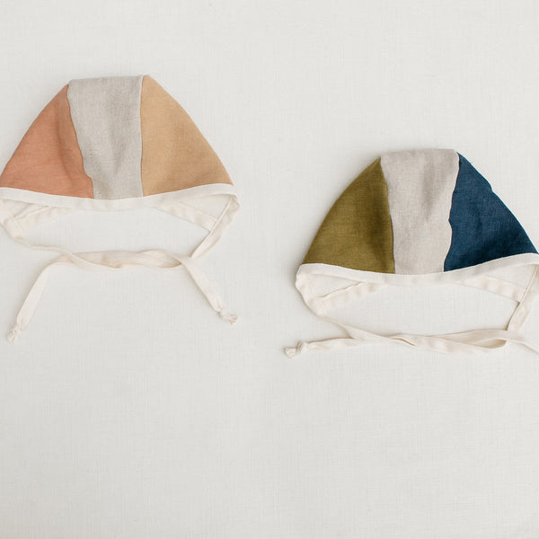 Indigo + Moss Colorblock Bonnet - Tortoise & the Hare Clothing | Naturally Dyed Kids Clothes