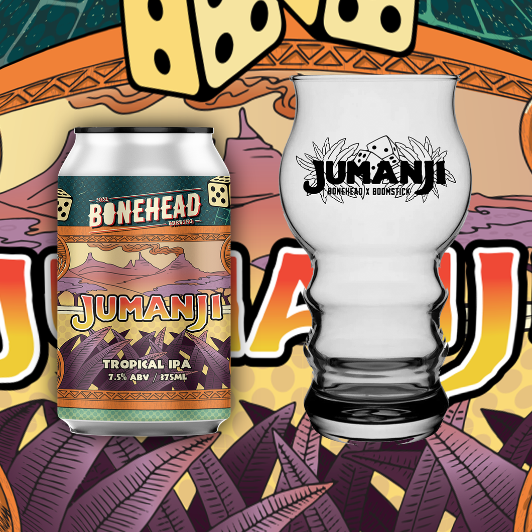 Jumanji! Glass Combo - Jumanji Tropical IPA (4-Pack) with Limited Edition Boomstick Glass