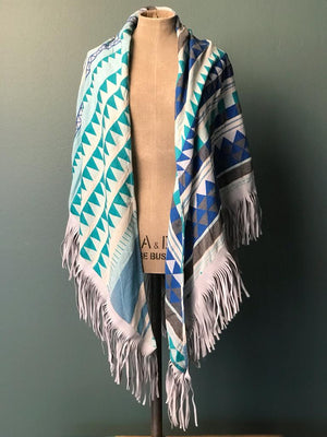 DEVOTION TWINS SCARF LEATHER FRINGE MULTI BLUE, Frontansicht