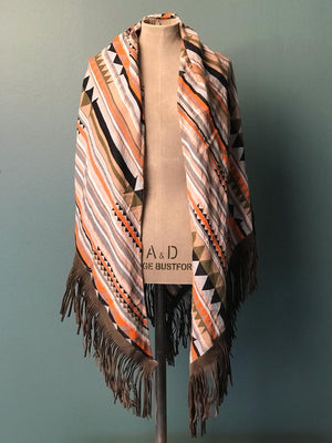 DEVOTION TWINS SCARF LEATHER FRINGE MULTI ORANGE, Frontansicht