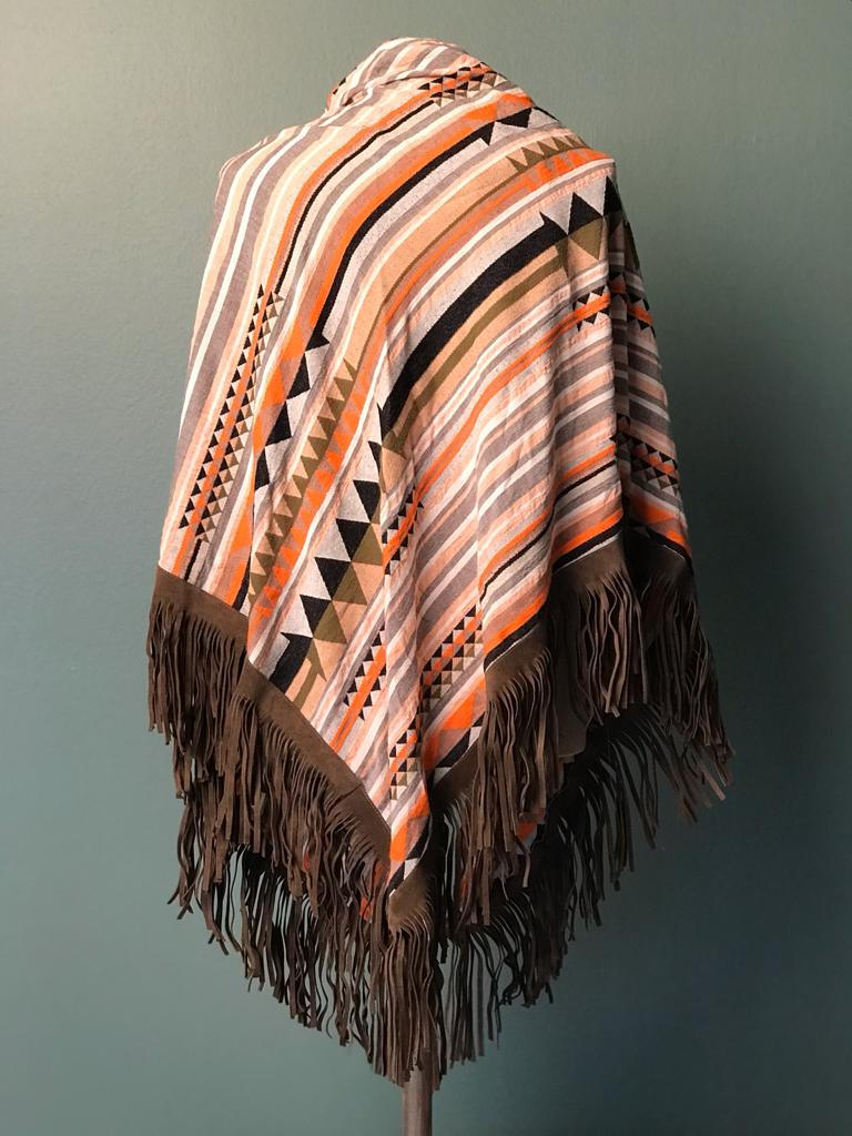 DEVOTION TWINS SCARF LEATHER FRINGE MULTI ORANGE, Rückansicht