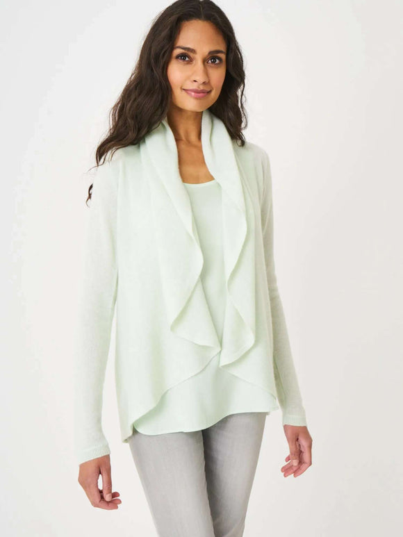 Open organic cashmere cardigan with shawl neck - BoUvy