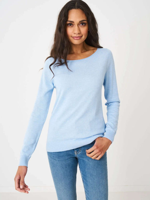Basic long sleeve pullover in organic cotton blend - BoUvy