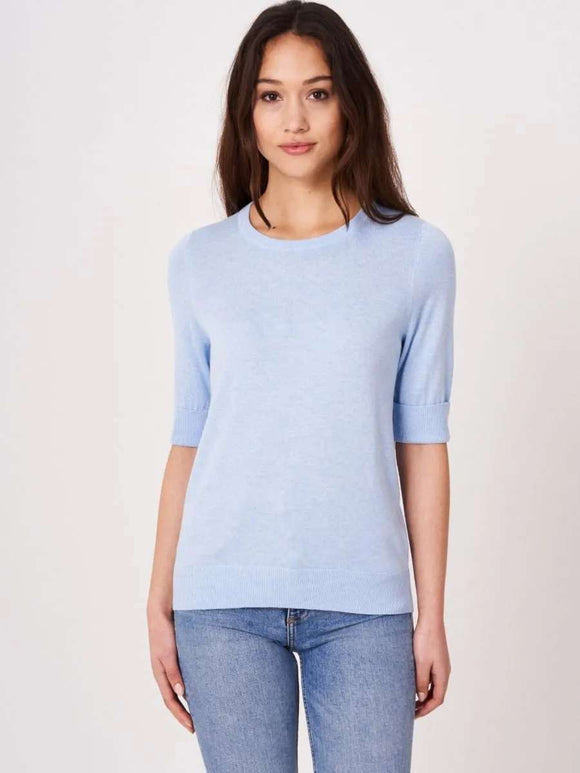 Basic fine knit short sleeve pullover in organic cotton blend
