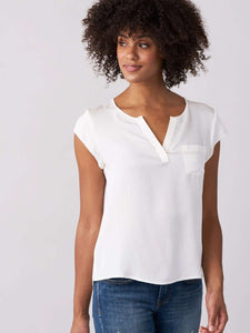 Silk top with breast pocket - BoUvy