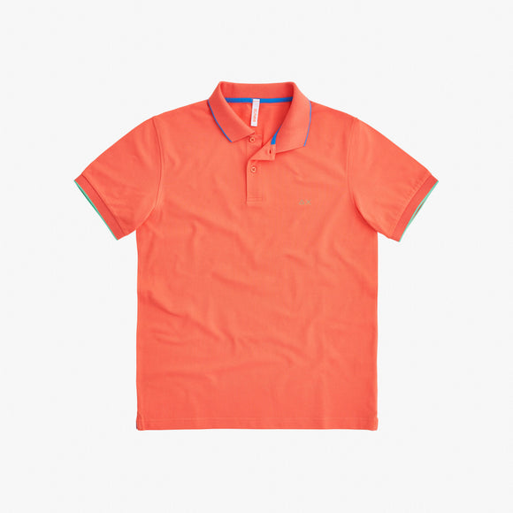 POLO SMALL STRIPES ON COLLAR EL. CORAL - BoUvy