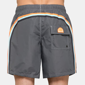 STRETCH WAIST MID-LENGTH SWIM TRUNKS