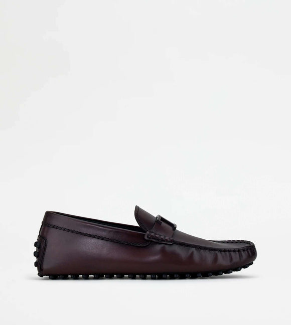 Gommino Driving Shoes in Leather - BURGUNDY - BoUvy
