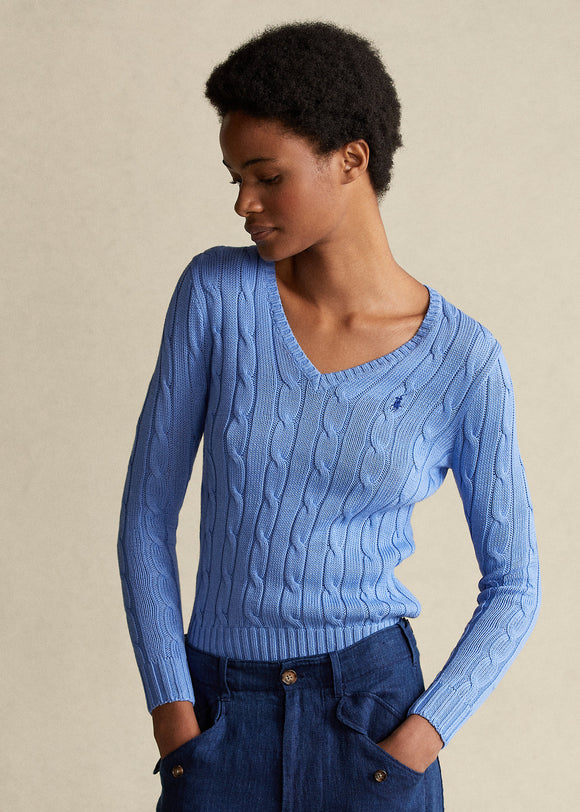 Cable-Knit Cotton V-Neck Sweater - BoUvy