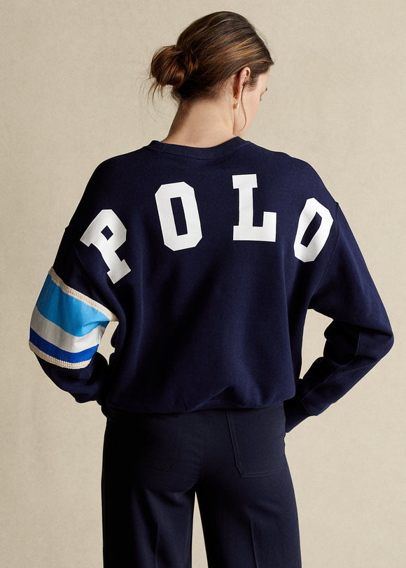 Striped-Trim Fleece Sweatshirt - BoUvy
