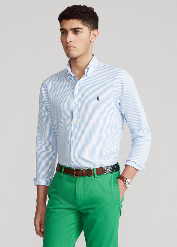 Custom Fit Striped Stretch Oxford Shirt