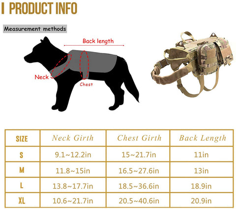 IHRtrade,Outdoors Equipment,tws113002,Adjustable Military Working Dog Vest,Military Tactical Dog Harness With Pouches