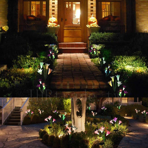 Ihrtrade,Home & Kitchen,DS30177_lilylights_purple,Artificial lily solar garden stake lights,Butterfly solar stake lights,Artificial lily solar lights