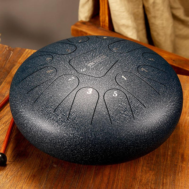 HLURU® Hand Pan Alloy Steel Tongue Drum 13 Tone C Key Round Tongue - 12 Inches / 13 Note,USB C Charger