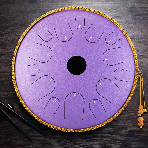 HLURU® Professional Performance Carbon Steel Tongue Drum 13 Inches 14 Notes D Key Handpan Drum Percussion Instrument,Colored Contact Lenses