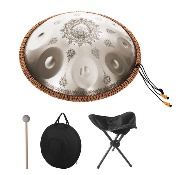 HLURU® Mini Handpan Alloy Steel Hand Pan Drum in C Key 9 Notes 16 Inches - Professional Performance,Colored Contact Lenses