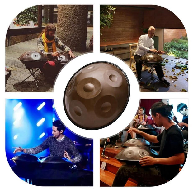 HLURU® Handpan Hand Pan Drum C-Key 17 Inch 6 Notes (A3 C4 D4 E4 F4 G4) Nitriding Steel Antique Brass Percussion Instrument,USB C Charger