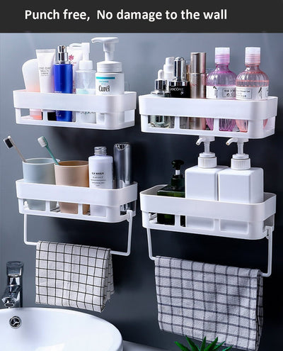 Ihrtrade Adhesive Bathroom Shelf Storage Organizer (4 colors & 2 types)