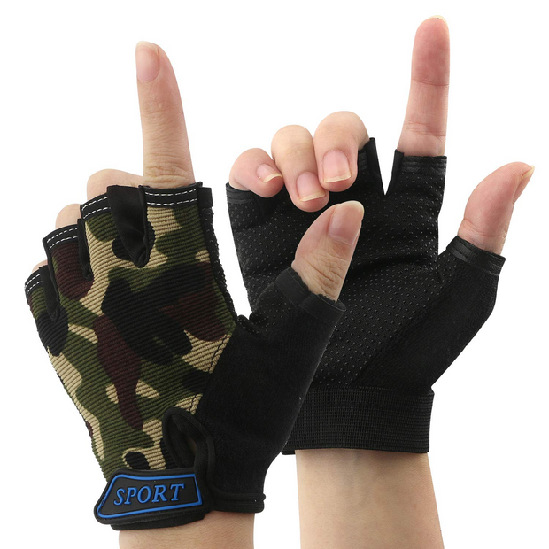IHRtrade Children Half Finger Fingerless Short Shock-Absorbing No-Slip Pro Cycling Gloves Mitten for Cycling MTB Exercise Skate Skateboard Roller Skating