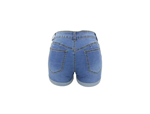 IHRtrade High Waisted Denim Shorts, Folded Hem Casual Jean Shorts Ripped,Distressed Denim Shorts Womens