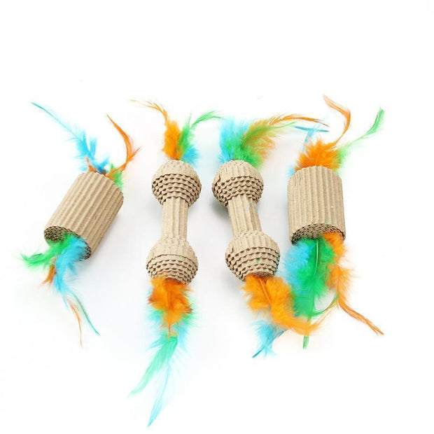Ihrtrade 2 Corrugated Paper Feather Cat Toys