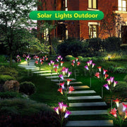 Ihrtrade Artificial Lily Solar Garden Stake Lights (1 Pack of 4 Lilies) | USB c Charger