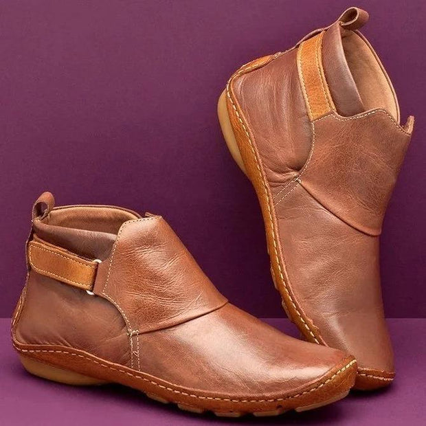 Ihrtrade Women Casual Comfy Daily Adjustable Soft Leather Booties