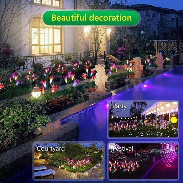 Ihrtrade Artificial Lily Solar Garden Stake Lights (1 Pack of 4 Lilies) | Garden Light Solar