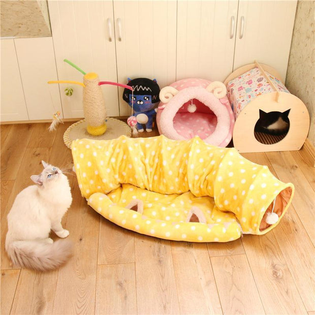 Ihrtrade Soft Cat Tunnel With Bed Mat (2 colors)