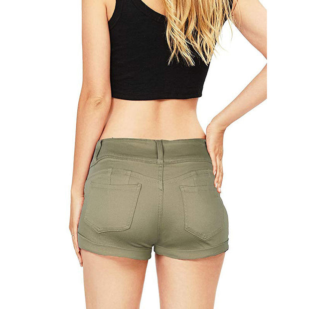 "Ihrtrade 3"" Mid Rise Denim Elastic Band Shorts Womens (3 Colors)"