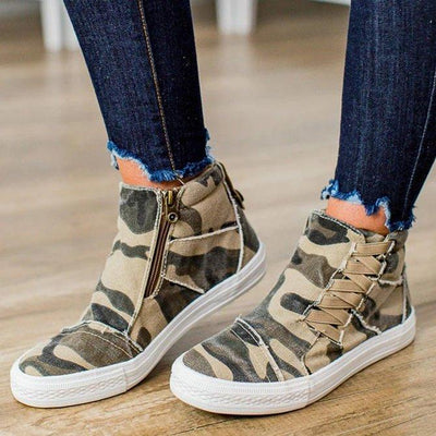 Ihrtrade Women Casual Daily High Top Stylish Flat Sneakers