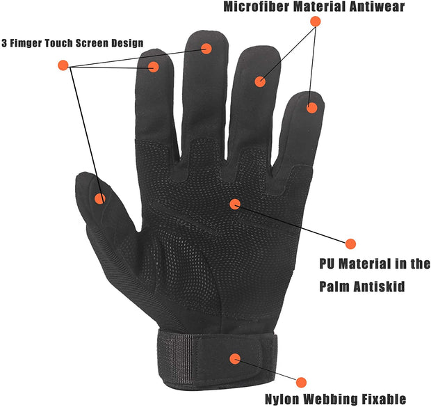 Ihrtrade Tactical Army Military Gloves Rubber Hard Knuckle Outdoor Full / Half Finger Touch Screen Gloves for Men Fit for Cycling Motorcycle Hunting Shooting Hiking Camping Airsoft Paintball