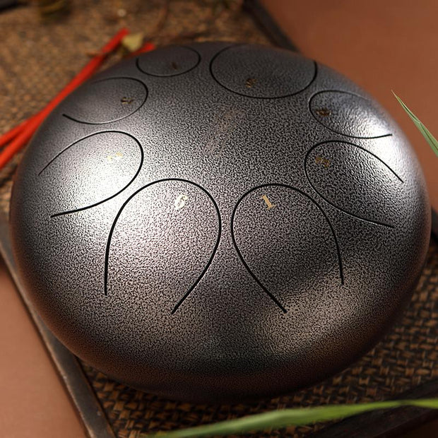 HLURU® Hand Pan Alloy Steel Tongue Drum 8 Tone C Key Round Tongue - 6 Inches / 8 Notes