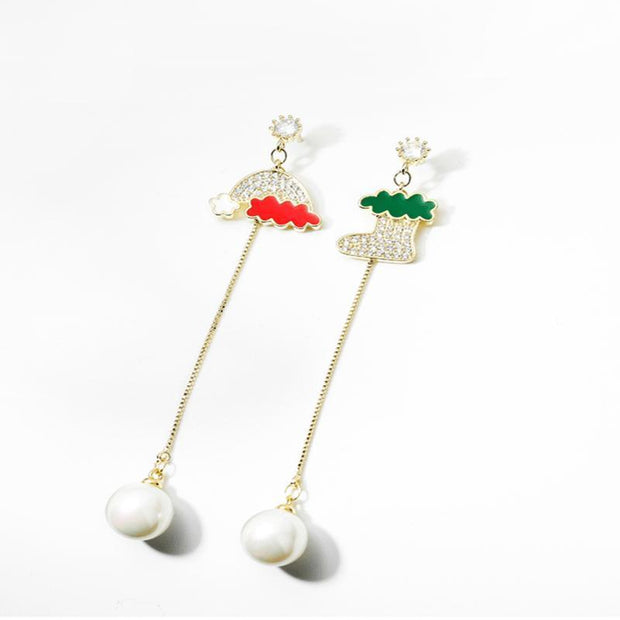 Ihrtrade Christmas Hat and Sock Asymmetric Earrings