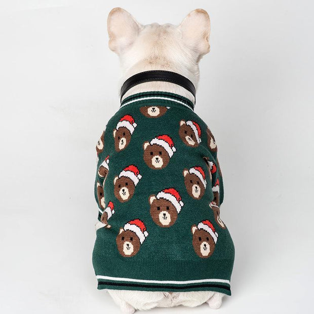 Ihrtrade Bear Print Christmas Cat/Dog Sweater (7 sizes)