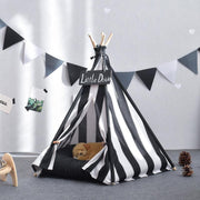 Ihrtrade Black And White Stripe Dog Tent Without Cushion
