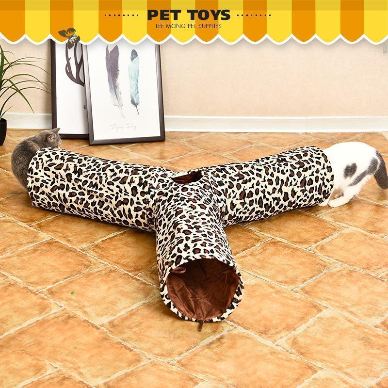 Ihrtrade Cat Tunnel Leopard Print Crinkly 3 Ways Toy