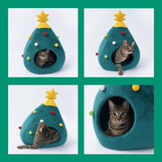 Ihrtrade Christmas Tree Shape Winter Warm Cave Bed For Cat