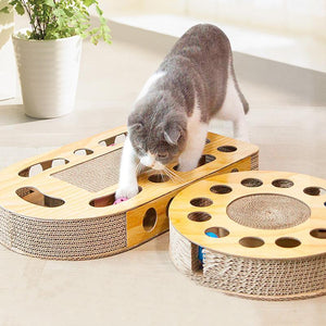 Ihrtrade Corrugated Board Cat Scratching Toy With Ball (4 Types)