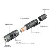 Soonfire 1050 Lumens Cree LED Tactical Rechargeable Flashlight With 3400mAh Battery (DS31)