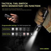 1050 Lumens USB Rechargeable Waterproof Tactical Flashlight With Cree XP-L LED ( Soonfire DS30 ) - whatsyourlives