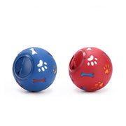 Ihrtrade Dog Toy Rubber Chew Leakage Food Play Ball (2 colors & 2 sizes)