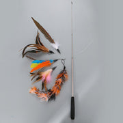 Ihrtrade Fishing Pole Feathers Cat Teaser Toy Set