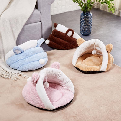 Ihrtrade Fluffy Pompom Slipper Shape Dog/Cat  Bed (4 colors & 2 sizes)